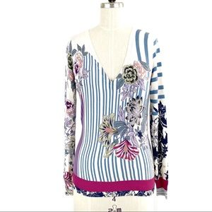COPY - ETRO V-Neck Sweater Floral and Stripes Siz…